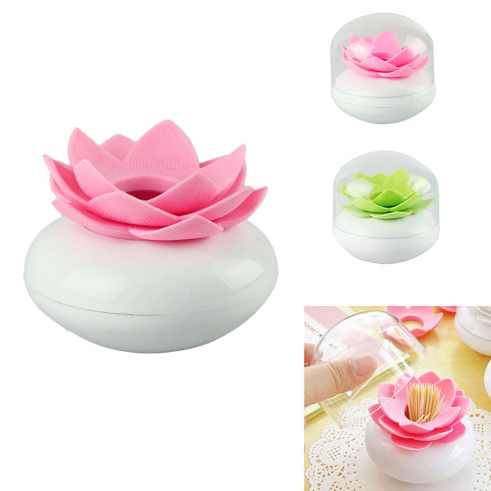 Toothpick Case Lotus Flower Cotton Bud Holder Toothpick Case Cotton Swab Box Vase Decor