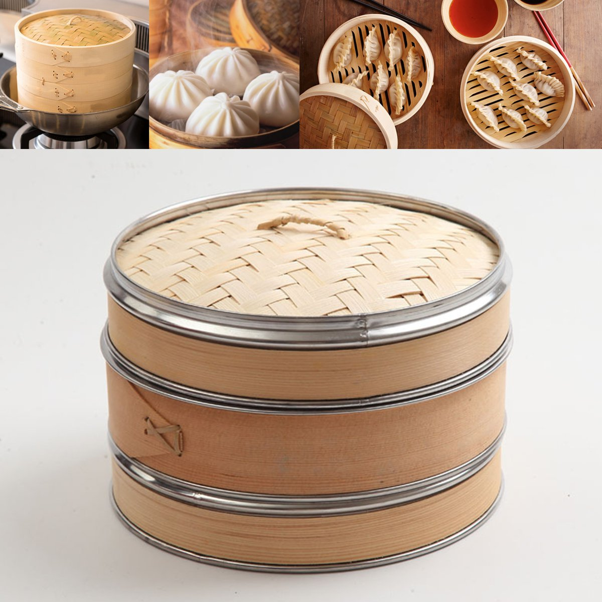Natural Woven Bamboo Steamer Banding Dim Sum Vegetables Rice Cooker Home Kitchen Cooking Tools Cookware Set 10'' 2 Tiers 1 Lid