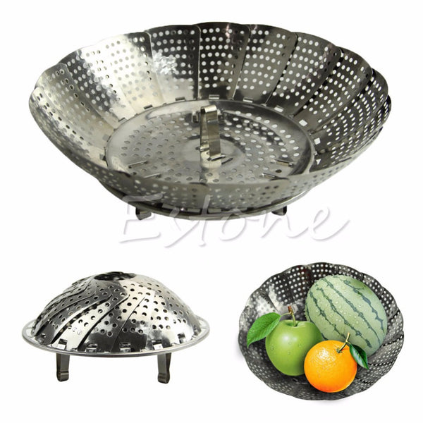 Stainless Steel Folding Steamer Steam Vegetable Basket Mesh Cooker Expandable SIZE S