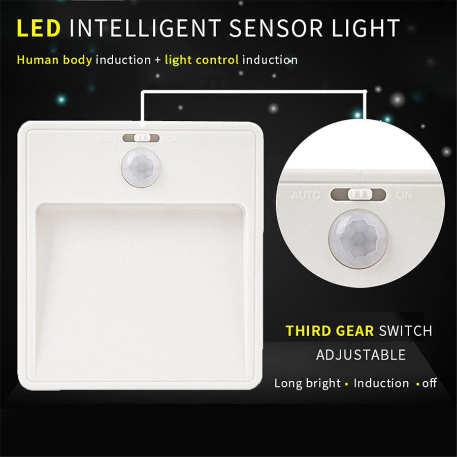 LED Light PIR Motion Sensor Night Lights Infrared Human Body Induction LED Wall Lamp 3 Modes Wireless Auto Emergency Nightlight