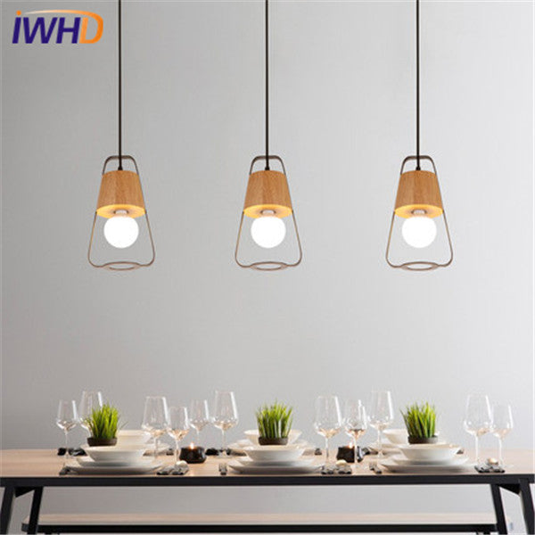 IWHD Japanese Iron Wood Droplight Modern LED Pendant Light Fixtures For Dining Room Hanging Lamp Home Indoor Lighting