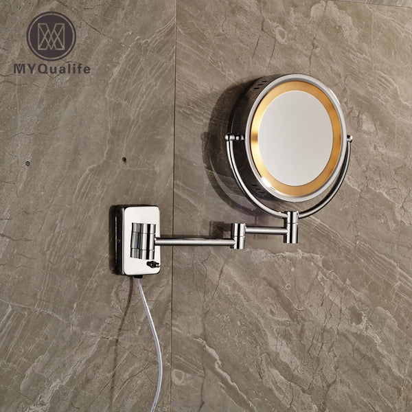 Luxury Chrome Brass Bathroom Cosmetic Mirror