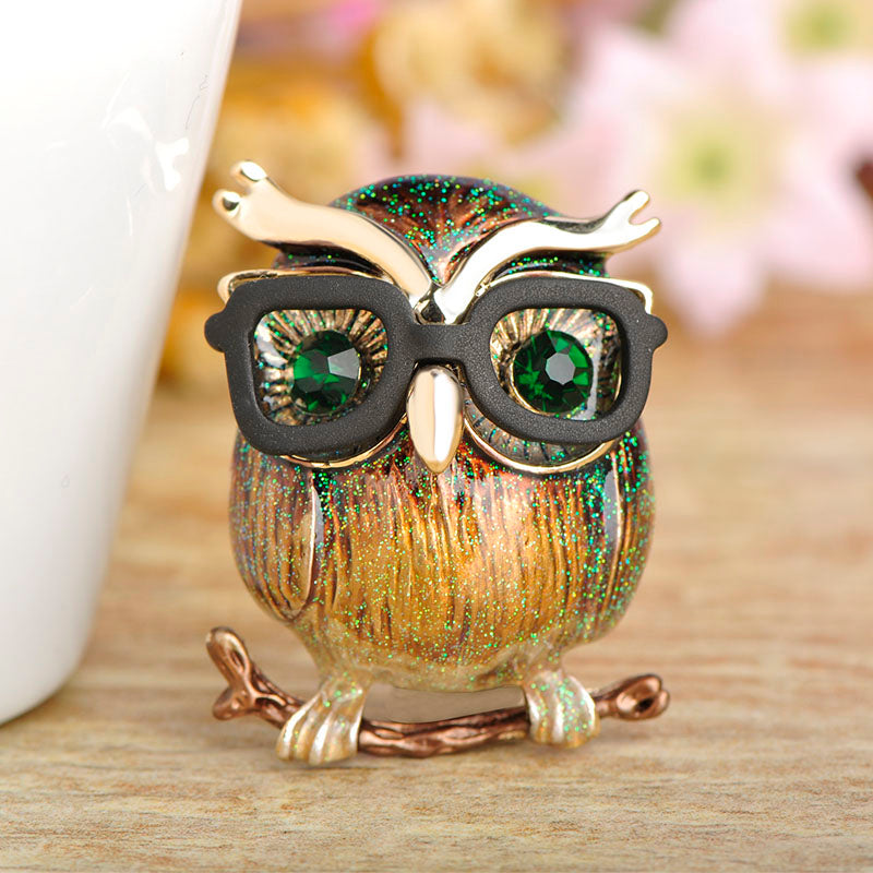 Madrry Green Kawaii Owl Brooches