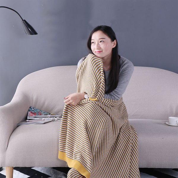 ISINOTEX 100% Cotton Khaki Yellow Blanket Throws