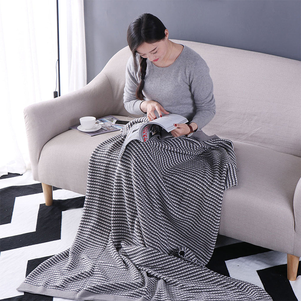 ISINOTEX 100% Cotton Gray Blanket Throws