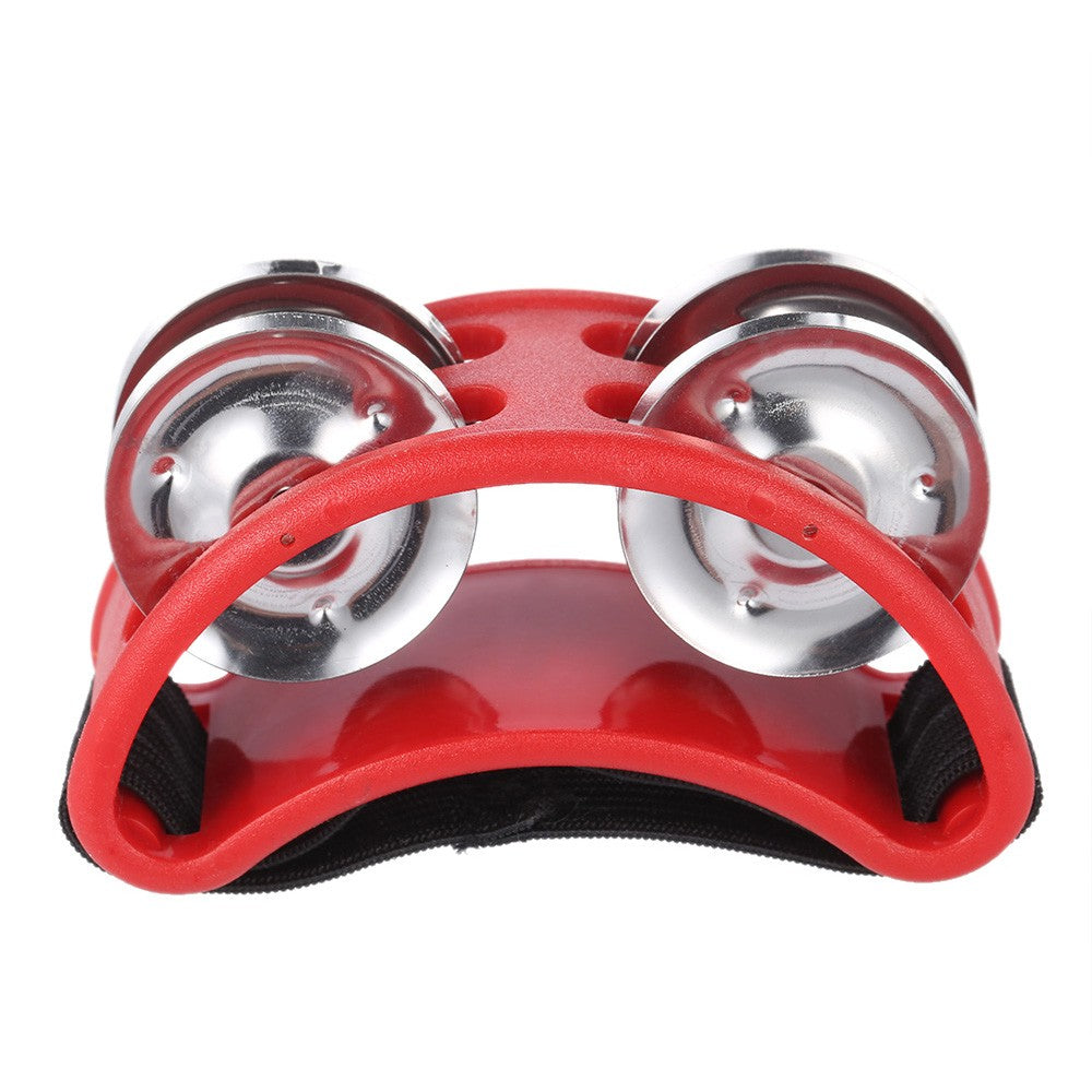 Red Foot Tambourine Cajon Box Drum Rhythm Metal Jingle Bell Percussion Musical Instrument Style