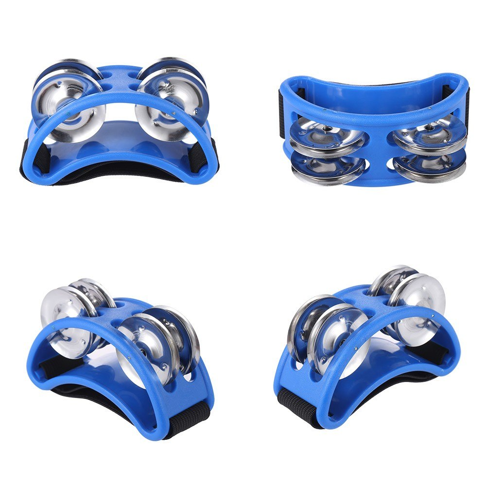 Blue Foot Tambourine Cajon Box Drum Rhythm Metal Jingle Bell Percussion Musical Instrument Style N