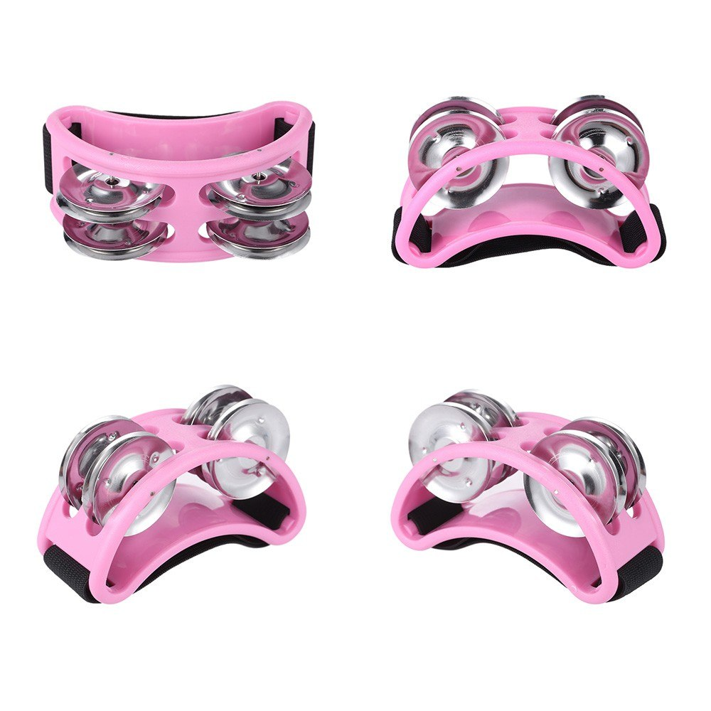 Pink Foot Tambourine Cajon Box Drum Rhythm Metal Jingle Bell Percussion Musical Instrument Style K