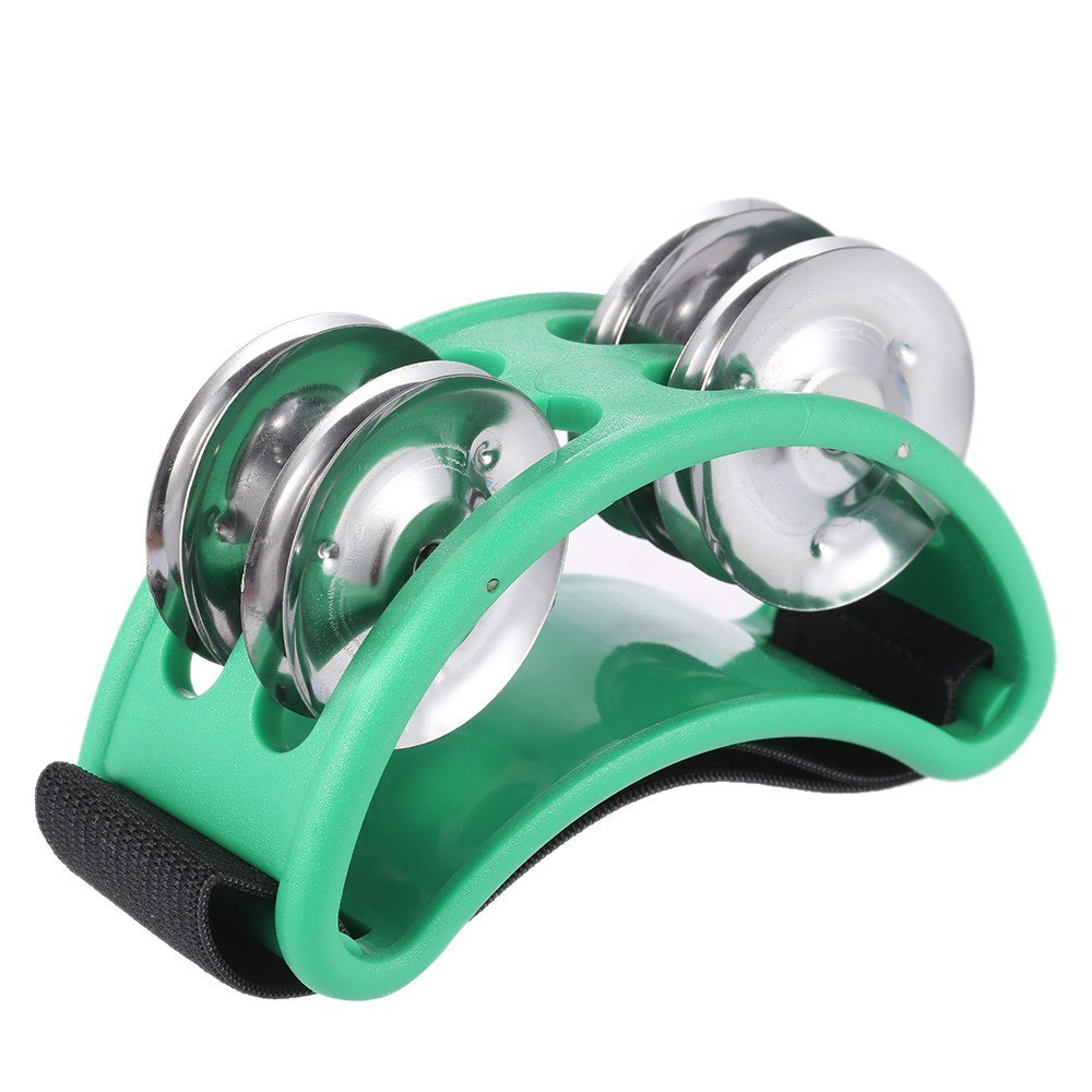 Green Foot Tambourine Cajon Box Drum Rhythm Metal Jingle Bell Percussion Musical Instrument Style E