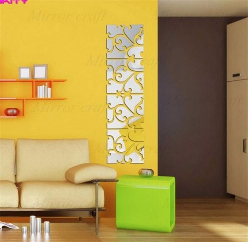 1 Set 3D Wall Mirror Decal Stickers