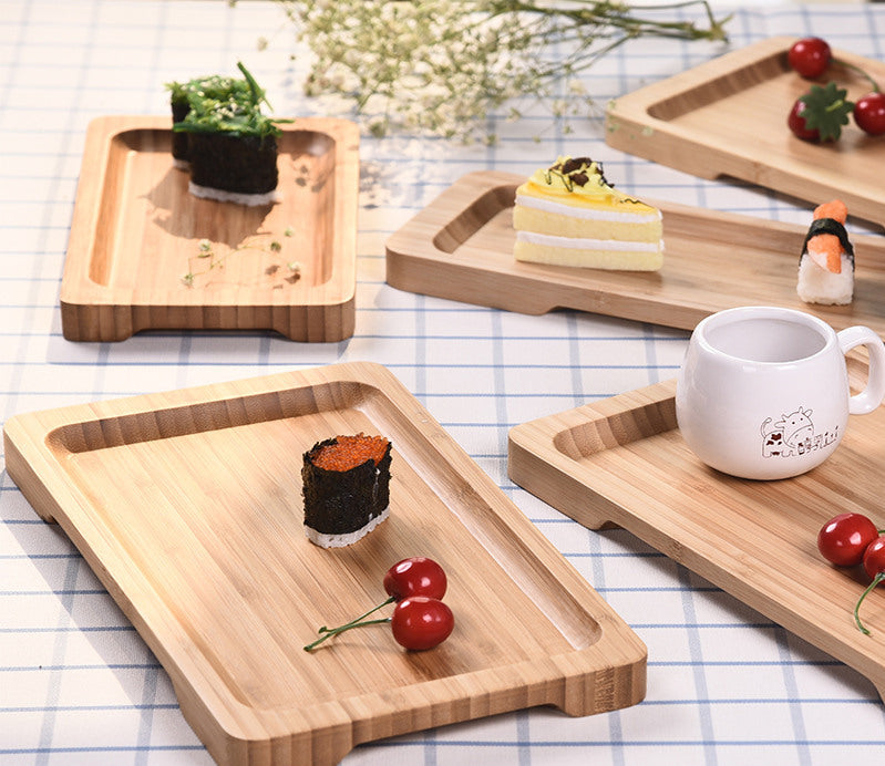 Rectangle Bamboo Sushi Tray Dishes Tea Dinner Plate Party Serving Trays Style C