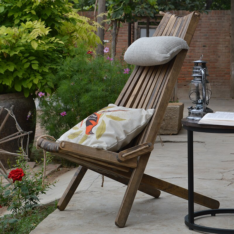 Wooden Lounge Chair with Pillow and Seat Cushion