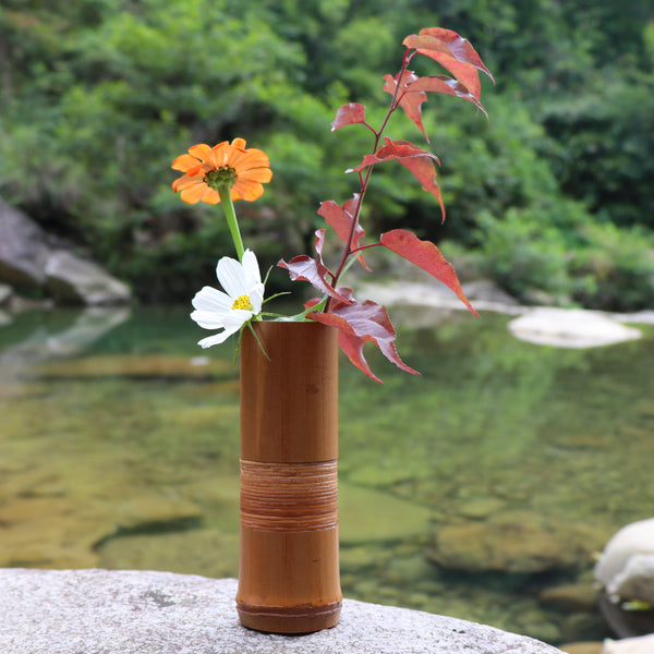 Japanese Handmade Bamboo Wood Flower Vase Japan Wedding Decoration Wooden Home Decor Vases Accessories Style