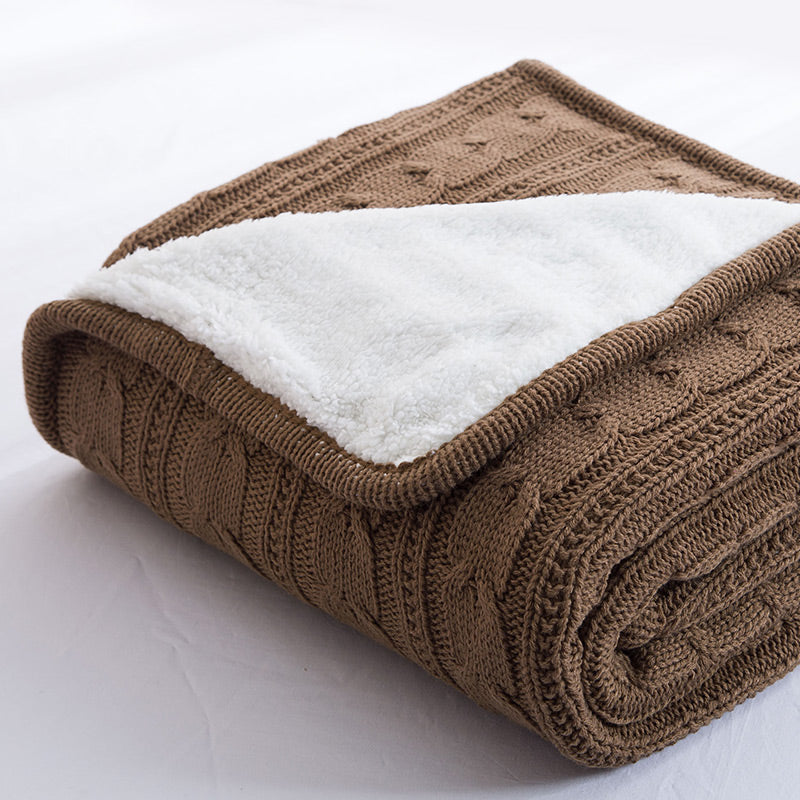Papa&Mima Brown Knitted Cotton Throws