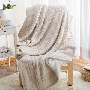 Papa&Mima Cream Knitted Cotton Throws - 未定義 miTeigi