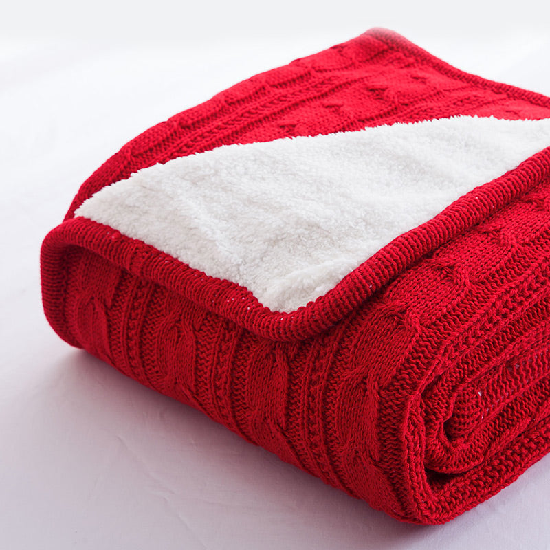 Papa&Mima Red Knitted Cotton Throws