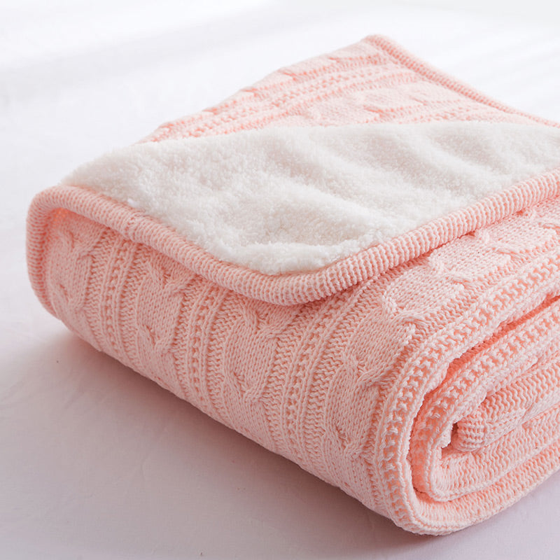Papa&Mima Pink Knitted Cotton Throws