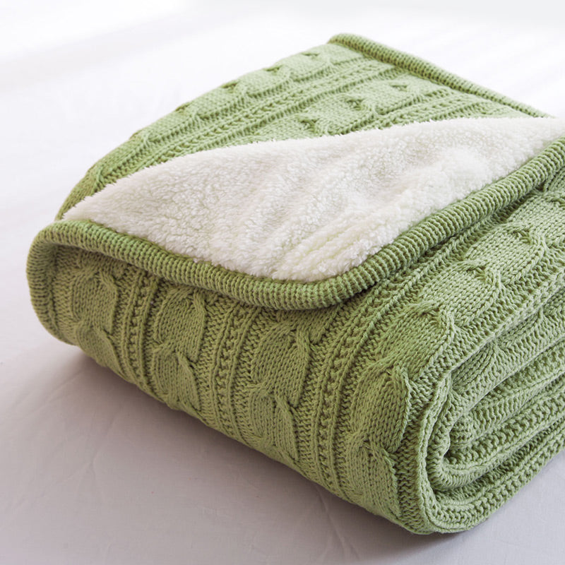 Papa&Mima Green Knitted Cotton Throws