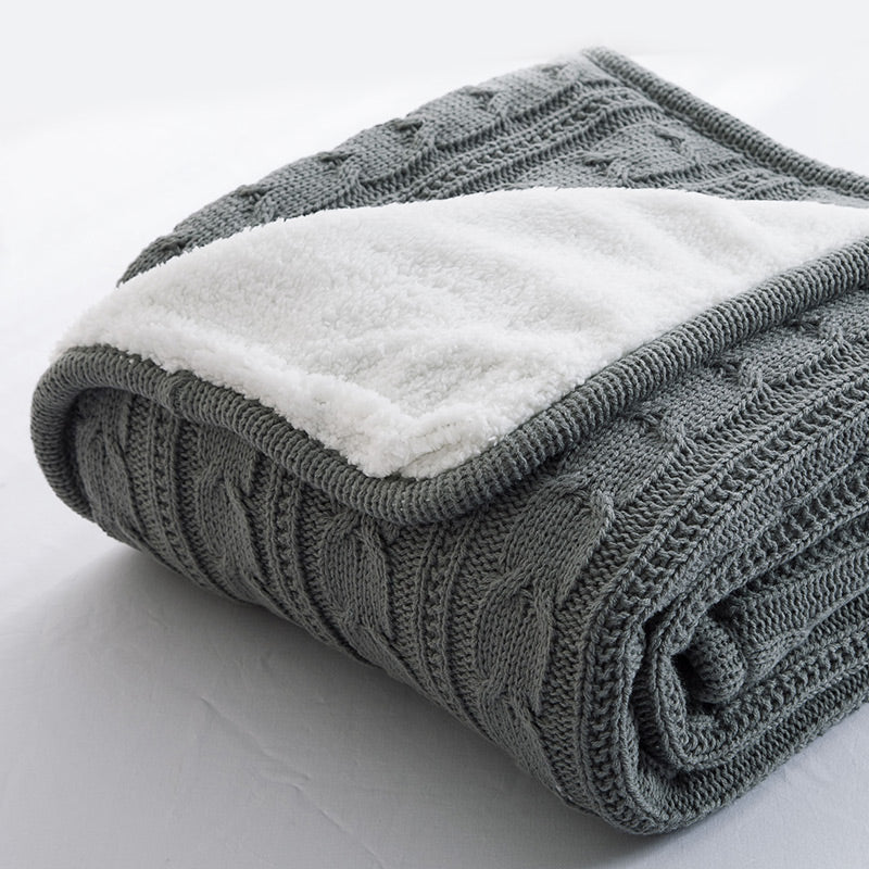 Papa&Mima Gray Knitted Cotton Throws