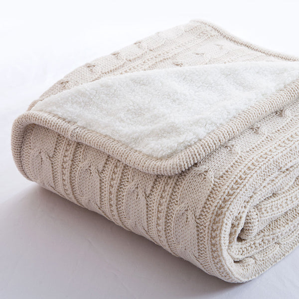 Papa&Mima Cream Knitted Cotton Throws