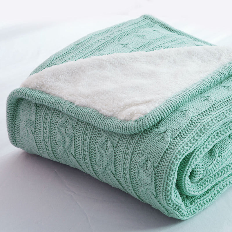Papa&Mima Turquoise Knitted Cotton Throws