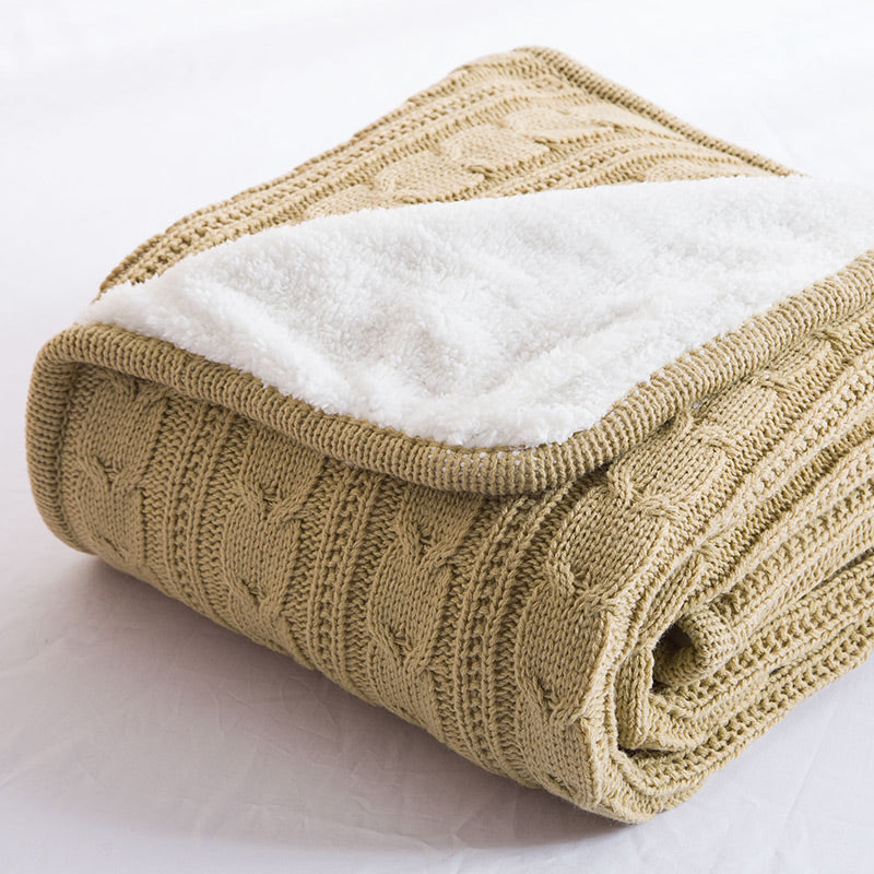 Papa&Mima Khaki Knitted Cotton Throws