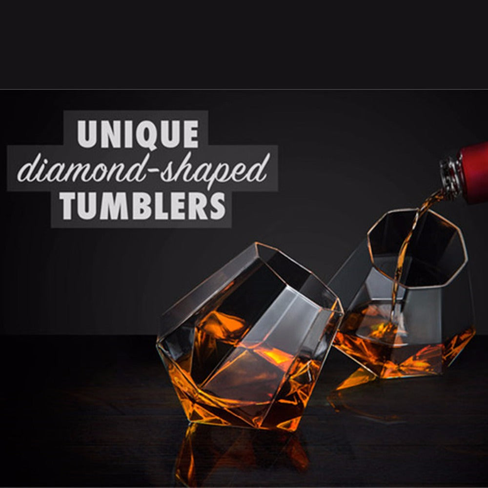 New Design Crystal Diamond Shaped Glasses Transparent Whisky Vodka Coffee Wine Beer Glass Cup Tumbler Home Bar KTV Drinkware