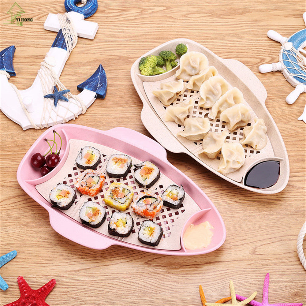 YI HONG Boat Dumpling Plate Sushi Plate Kitchen Fruit Dinner Plate Eco-friendly Wheat Straw Plate A1215c