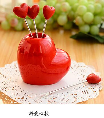 Halojaju Home Love Stainless Steel Heart 5 Fruit Fork + 1Holder tableware Dinnerware Sets, fruit toothpick Snack Pick Dinner Table Decor