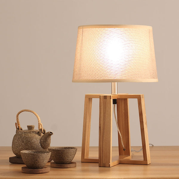 Japanese bedroom bedside lamp retro wooden desk lamp of modern Chinese table linen Table Lamp