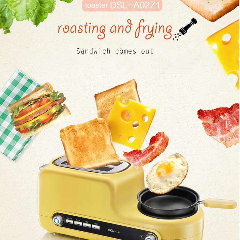 Japanese Yellow Multi-Functional Breakfast Machine Japan Egg Cooker Bacon Fryer Sandwich Toaster Kitchen Electrical Appliance Style A
