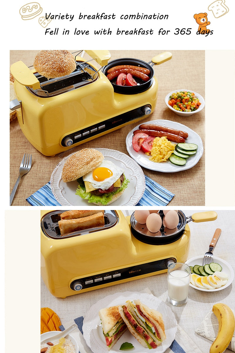 Japanese Yellow Multi-Functional Breakfast Machine Japan Egg Cooker Bacon Fryer Sandwich Toaster Kitchen Electrical Appliance Style J