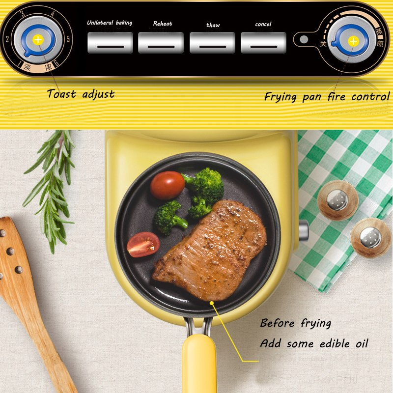 Japanese Yellow Multi-Functional Breakfast Machine Japan Egg Cooker Bacon Fryer Sandwich Toaster Kitchen Electrical Appliance Style G