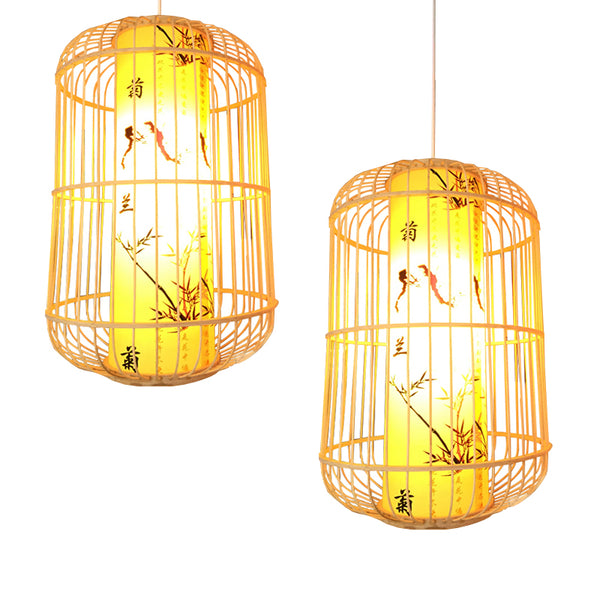 Modern Chinese led pendant lights bamboo tea room restaurant lights aisle creative Japanese pendant lamp art deco home lighting