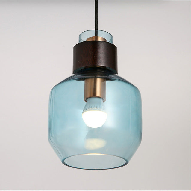 Svitz Kitchen 1 Piece interior lighting pendant light with glass cover grey Blue amber pendant lamps LED lights Japanese stye Luminaire
