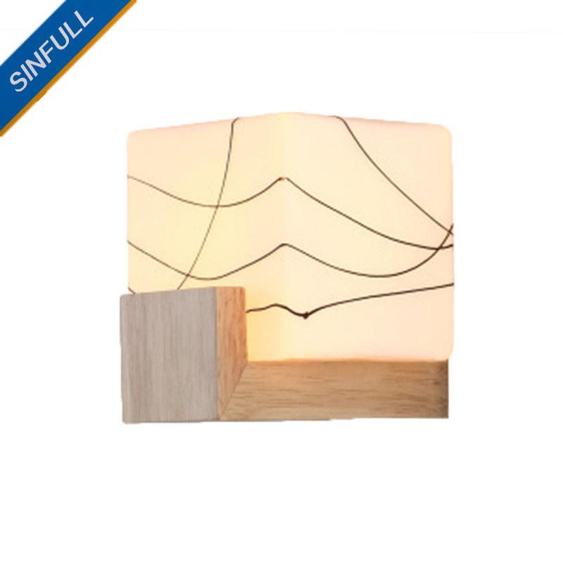 Japanese wooden wall light miteigi japanese style wooden wall light bedside wall lamp e27 socket white glass shade modern sconce ac90 mozeypictures Gallery