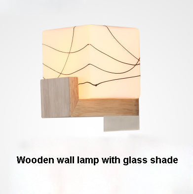 Japanese Style Wooden Wall Light Bedside Wall Lamp E27 Socket White Glass Shade Modern Sconce AC90-260v Indoor Lighting SINFULL