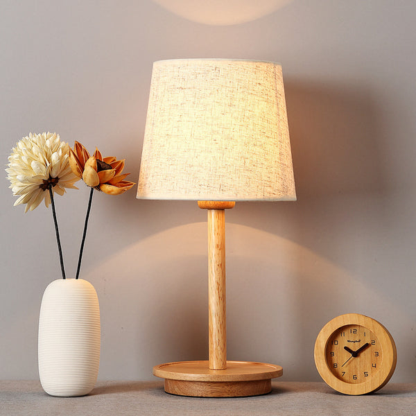 TUDA log warm bedroom table lamps decoration lamp bedside lamp Japanese style real wood desk lamp