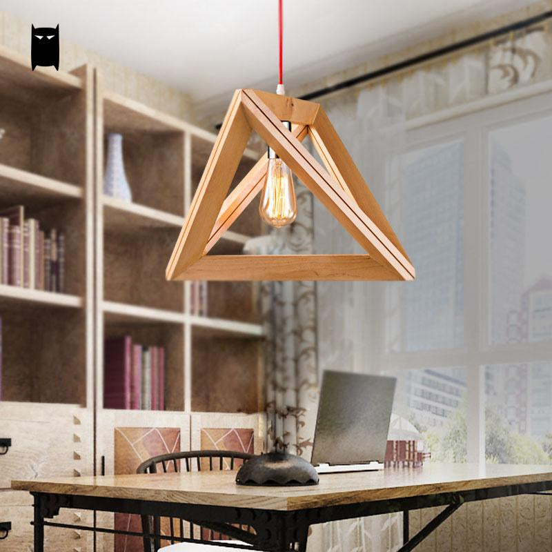 SOLEILCHAT Japanese Oak Wood Triangle Pendant Light Cord Fixture Loft Japanese Creative Style Hanging Ceiling Lamp Luminaria Dining Table Study Room