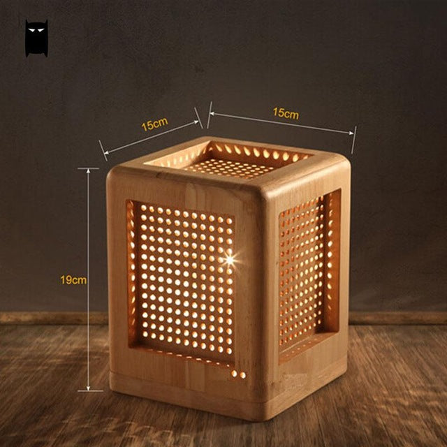 SOLEILCHAT Japanese Oak Wood Box Square Table Lamp Fixture Modern Rustic Nordic Korean Asian Japanese Desk Light Luminaria Bedroom Bedside E27 Base