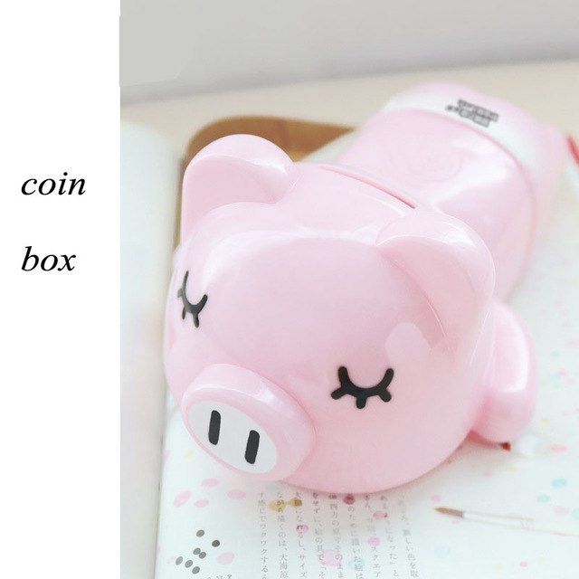 Cute Fashionista Pink Pig Coin Piggy Bank Opaque Money Savings Box Coin Piggy Bank Cash Boxes Child Kids Gift Home Decoration Accessories Style B
