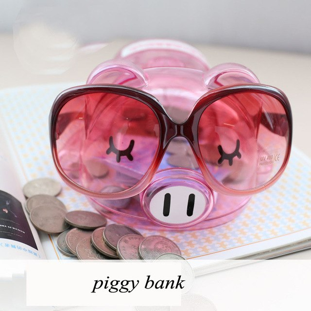 Cute Fashionista Transparent Pink Pig Coin Piggy Bank Money Savings Box Coin Piggy Bank Cash Boxes Child Kids Gift Home Decoration Accessories Style F