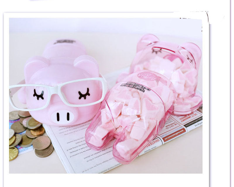 Cute Fashionista Pink Pig Coin Piggy Bank Money Savings Box Coin Piggy Bank Cash Boxes Child Kids Gift Home Decoration Accessories Style E