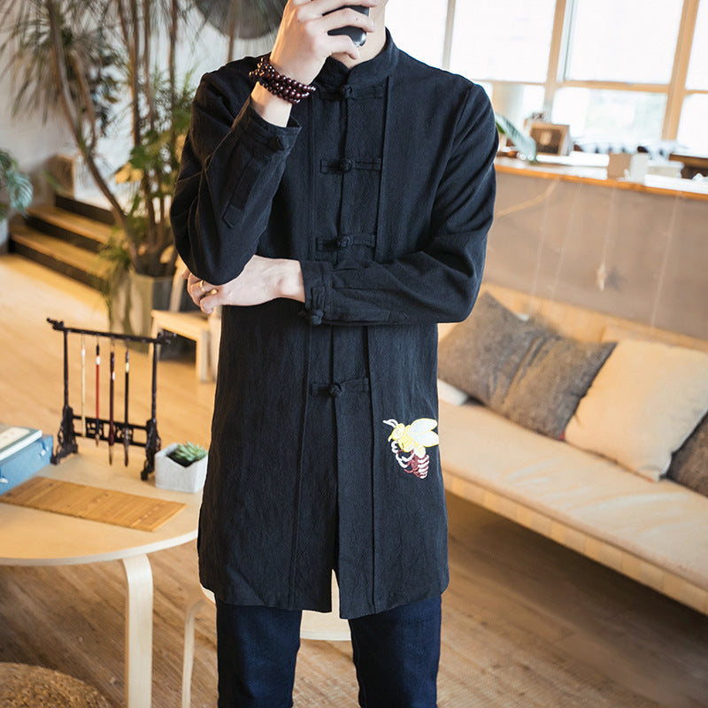 Military Casual Double-layer New Spring Japanese Folk Style Embroidered Linen Long Jacket Chinese Men