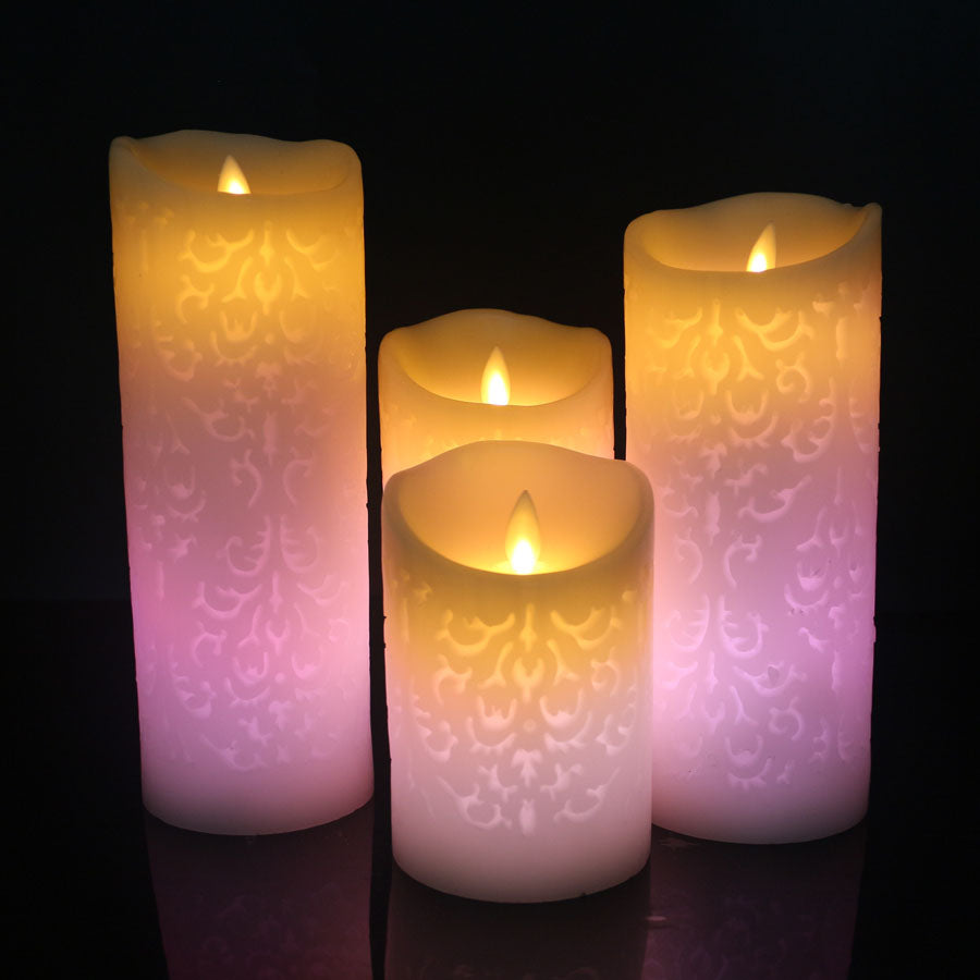 Trendy Pink Color Change Gradient LED Candles Remote Control Electronic Flameless Breathing Candle Night Lights Wedding Party Decoration