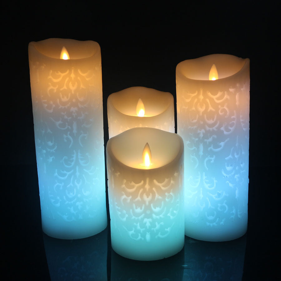 Blue Color Change Gradient LED Candles Remote Control Electronic Flameless Breathing Candle Night Lights Wedding Party Decoration
