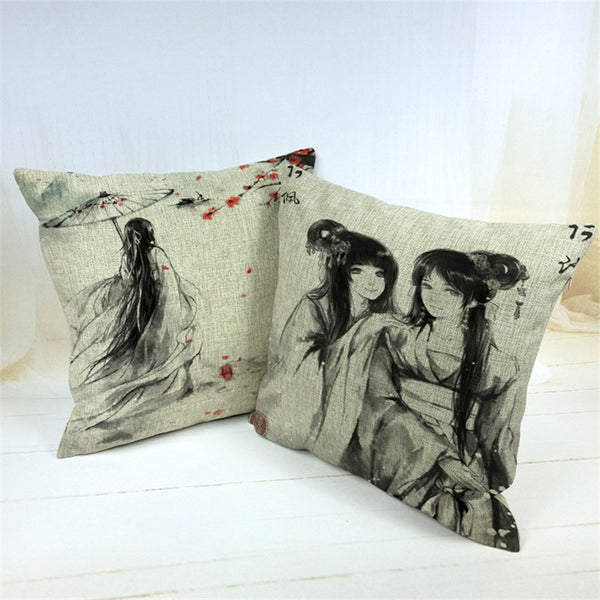 Japanese Geisha Girls Kimono Cotton Cushion Covers