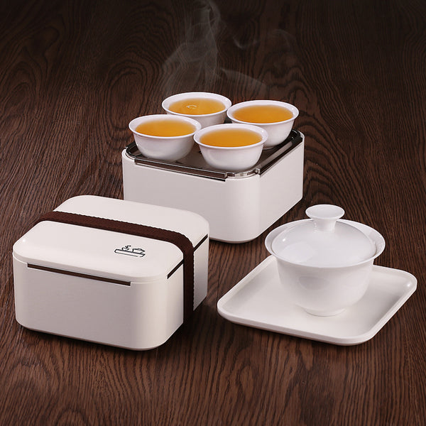 Japanese Mini Portable Traveling White Porcelain Gongfu Tea Set Gaiwan Teacups Tea Cloth in Serving Box Japan Dining Accessories