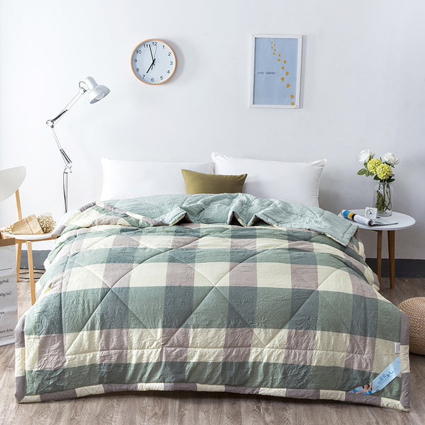 Japanese Washed Green Plaid Cotton Quilt Blanket