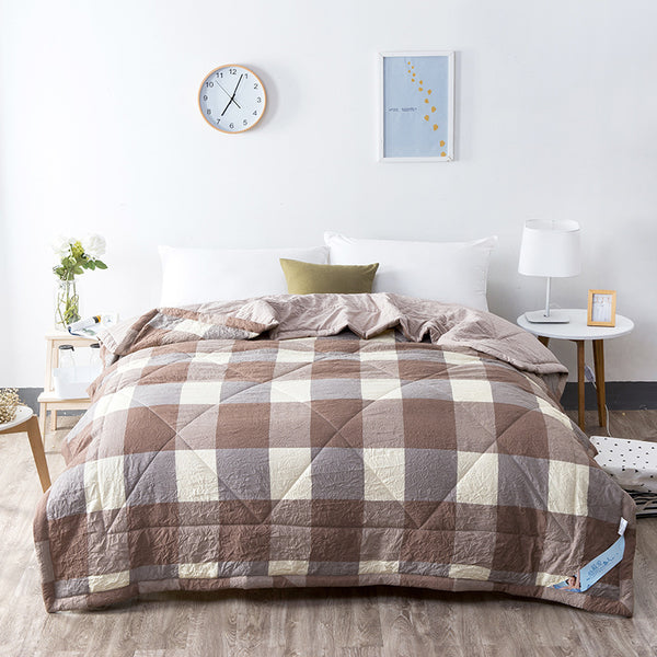 Japanese Washed Brown Plaid Cotton Quilt Blanket